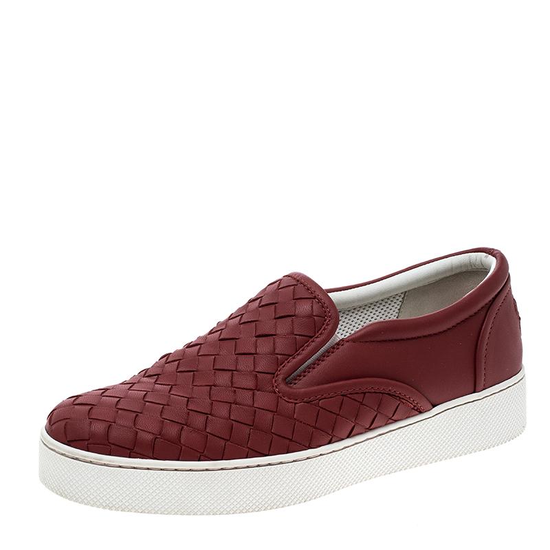 7838e7ea591f ... Bottega Veneta Red Intrecciato Leather Slip On Sneakers Size 35.  nextprev. prevnext