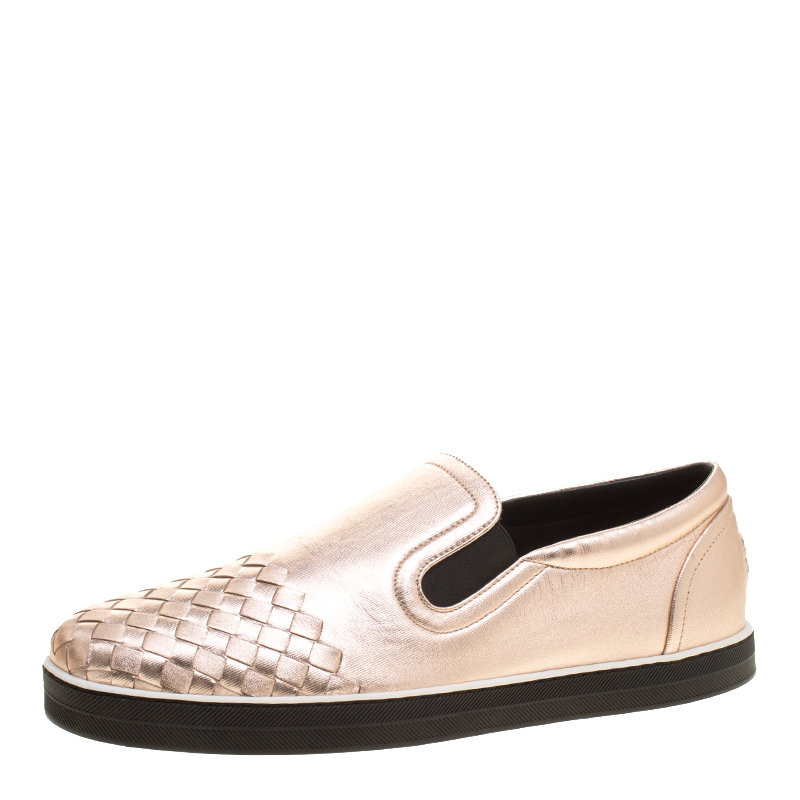 b80b5b11672a ... Bottega Veneta Metallic Pink Intrecciato Leather Slip On Sneakers Size  41. nextprev. prevnext