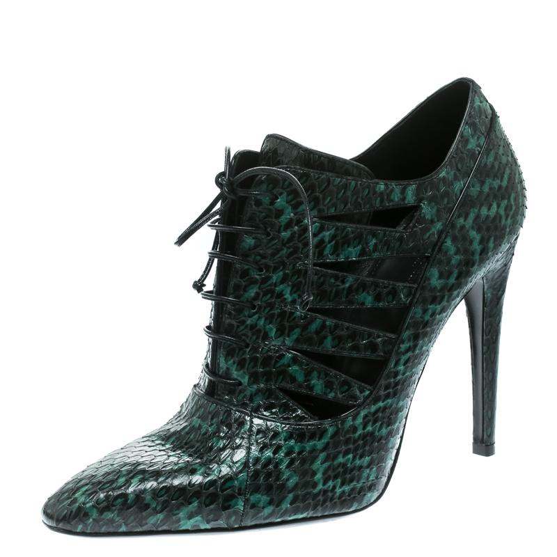 Bottega Veneta Green Python Leather Cutout Lace-Up Ankle Boots Size 40
