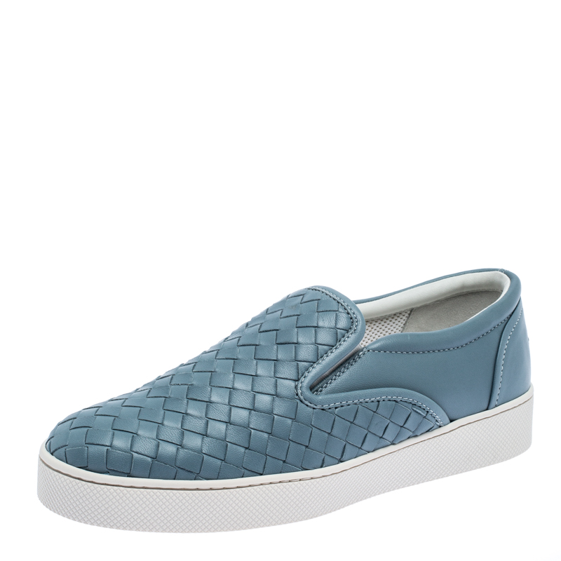 Bottega Veneta Blue Intrecciato Suede Slip On Sneakers Size 37
