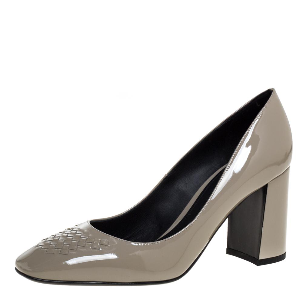 Pre-owned Bottega Veneta Grey Patent Leather Intrecciato Detail Block Heel Pumps Size 37.5