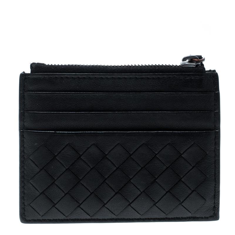 Купить со скидкой Bottega Veneta Black Intrecciato Leather Card Holder