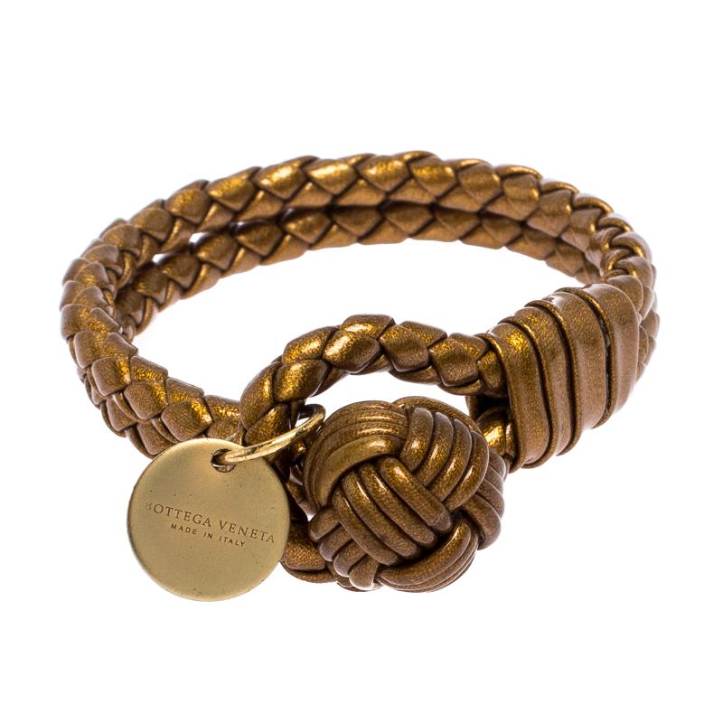 Bottega Veneta Bronze Gold Laminated Effect Leather Double Strand Intrecciato Bracelet