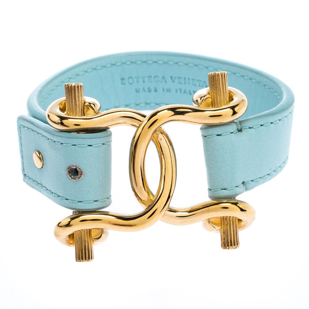 Bottega Veneta Blue Nappa Leather Gold Plated Sterling Silver Horsebit Bracelet