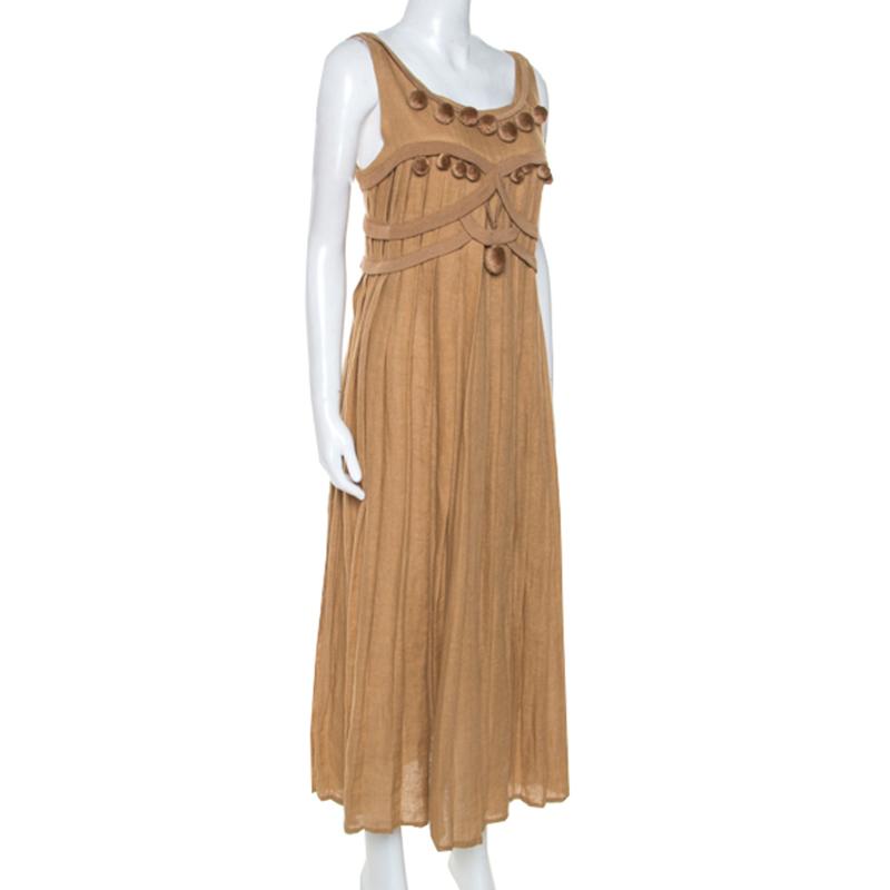 Bottega Veneta Camel Beige Linen Pom Pom Detail Pleated Dress