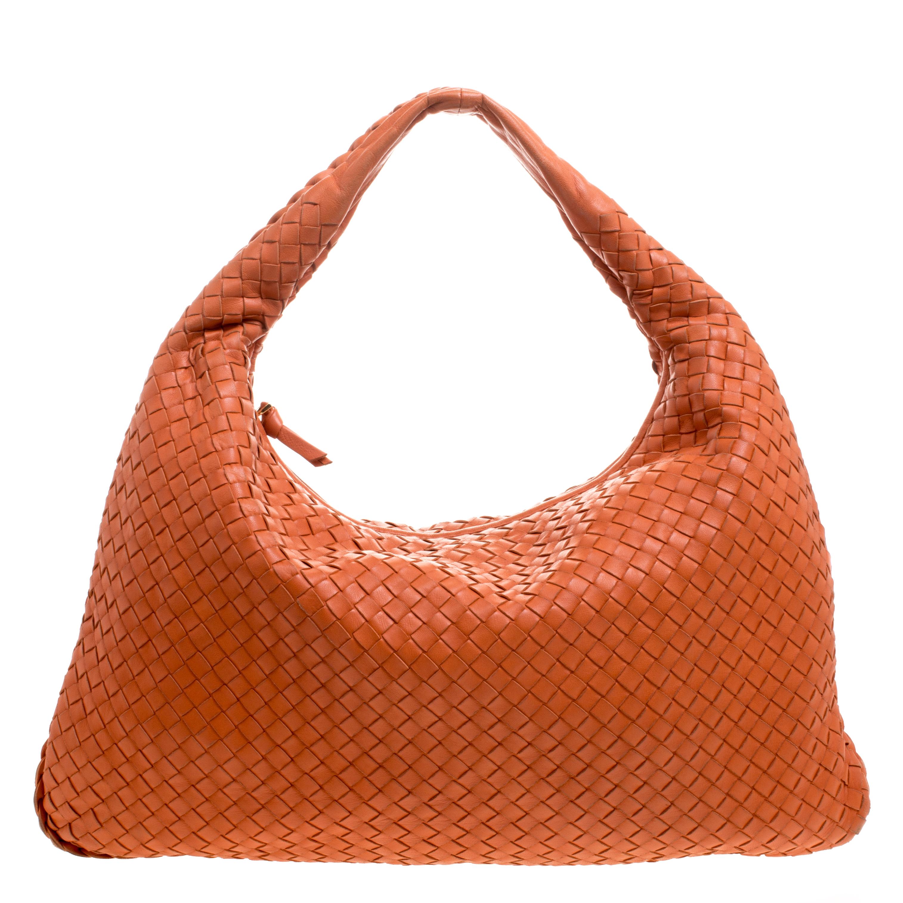 Bottega Veneta Orange Intrecciato Leather Large Belly Hobo