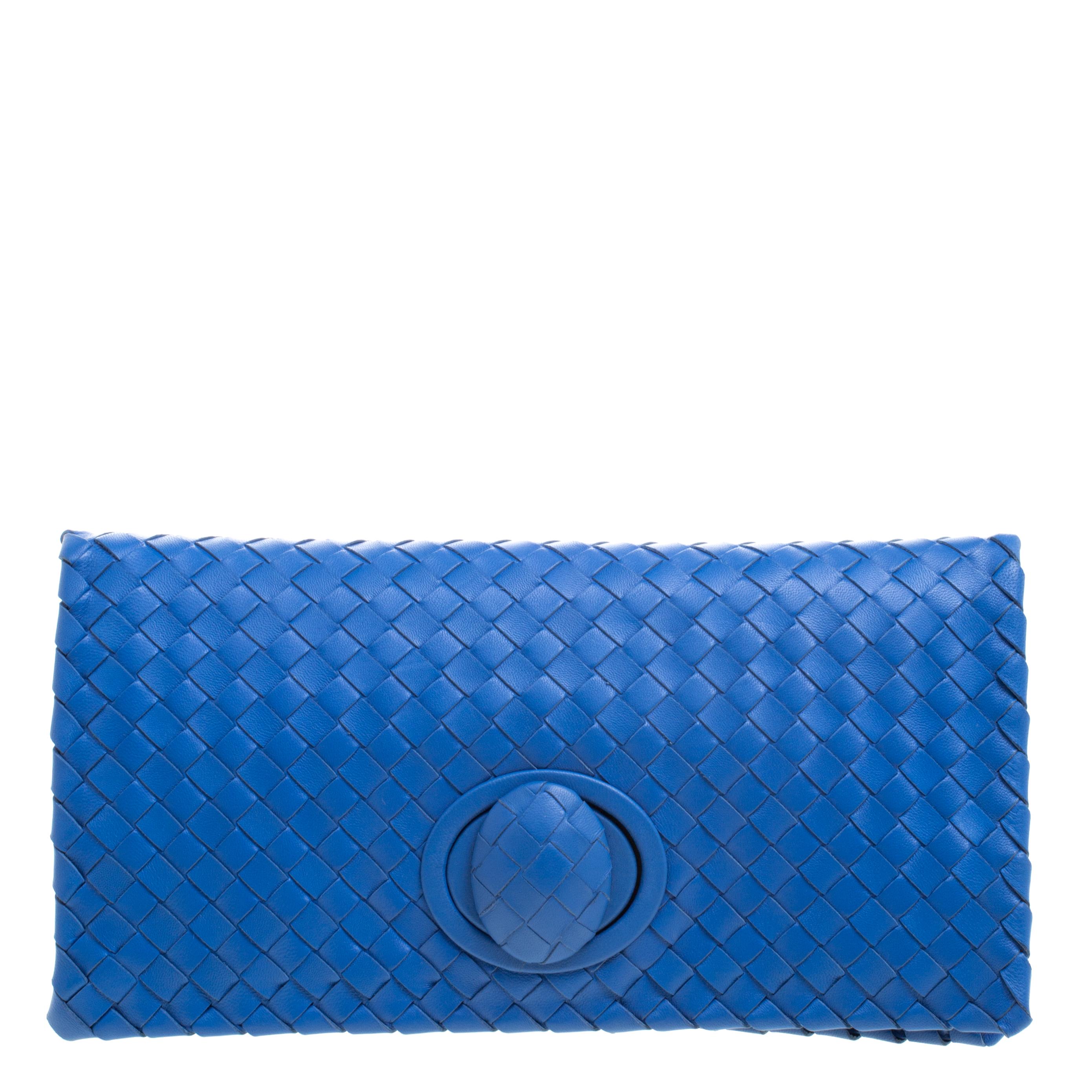 610d6a127ee1 ... Bottega Veneta Blue Intrecciato Leather Twist Lock Clutch. nextprev.  prevnext