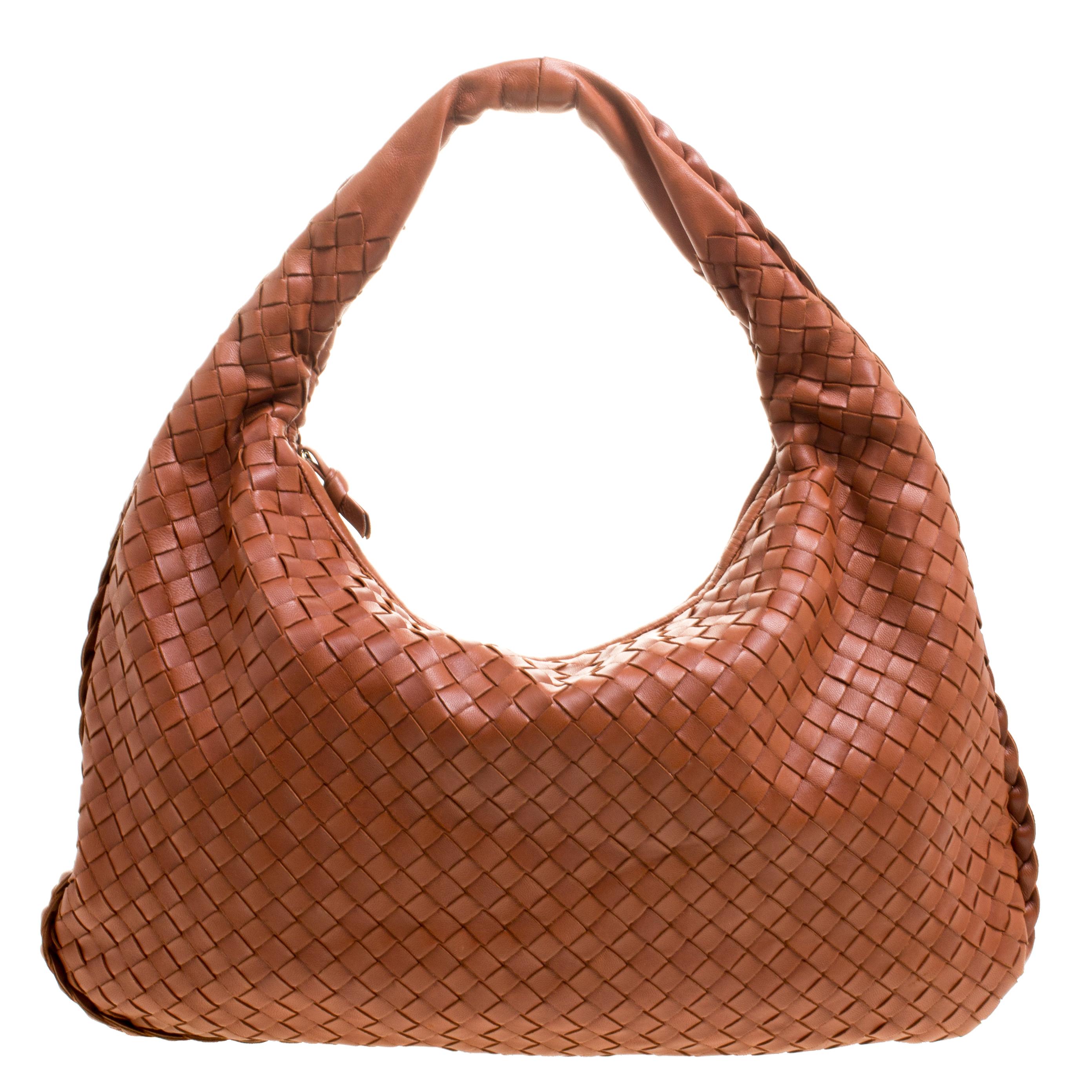 84d2e315f5 Buy Bottega Veneta Copper Intrecciato Leather Small Hobo 110929 at ...