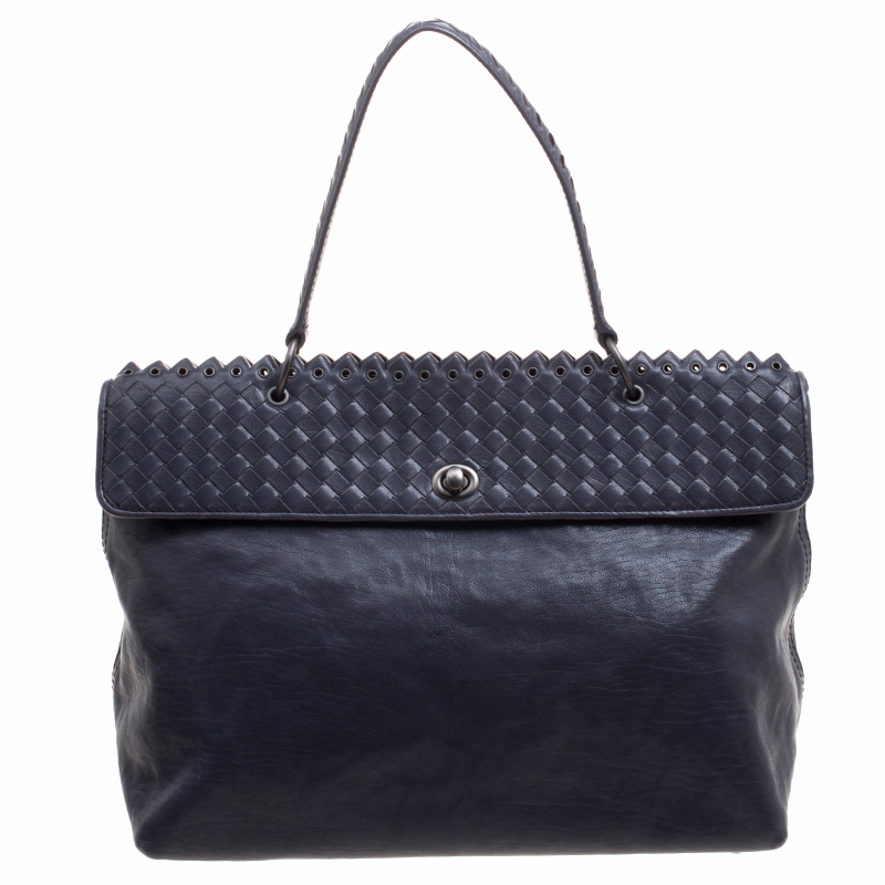 ... Bottega Veneta Navy Blue Woven Leather Tiina Bag. nextprev. prevnext f2fc79d477