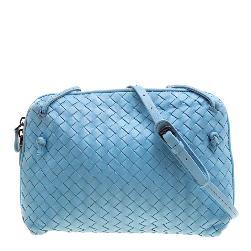1c45092a7b ... Bottega Veneta Light Blue Intrecciato Nappa Leather Crossbody Bag.  nextprev. prevnext