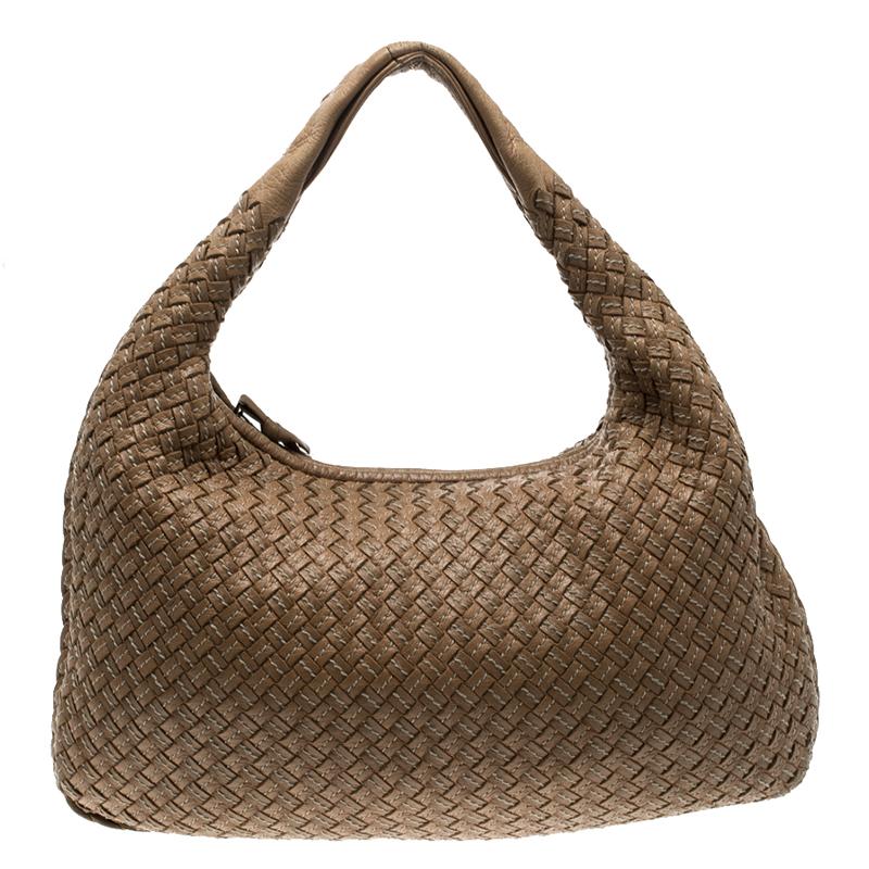 b20e04557ff3 ... Bottega Veneta Brown Intrecciato Stitched Nappa Leather Medium Veneta  Hobo. nextprev. prevnext