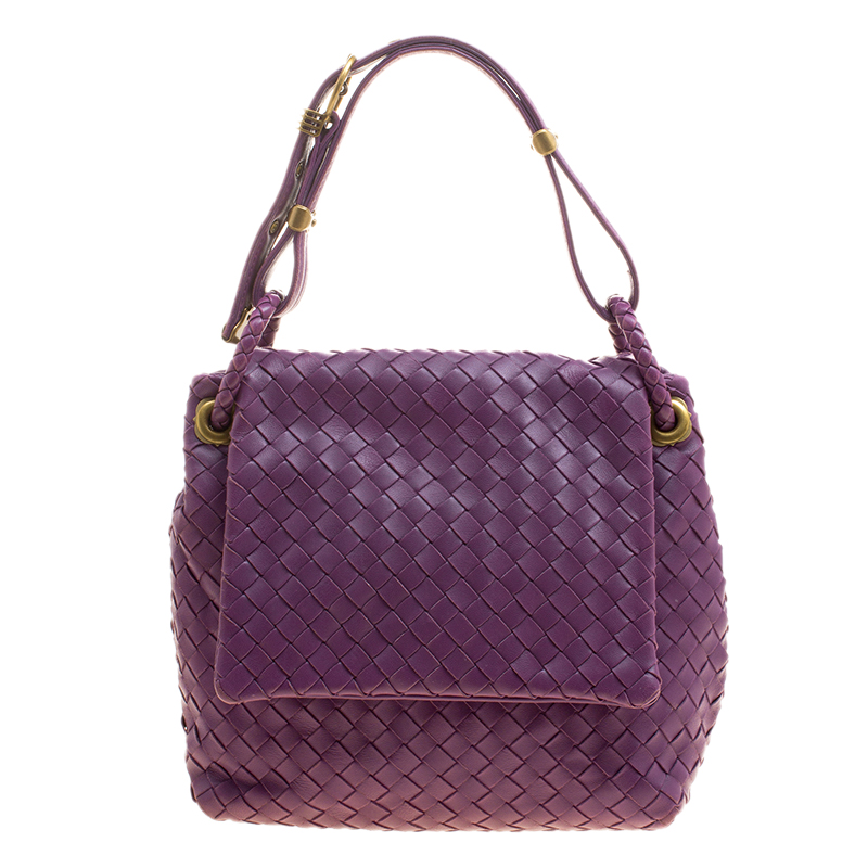 03a6c2203d59 ... Bottega Veneta Purple Intrecciato Leather Flap Shoulder Bag. nextprev.  prevnext