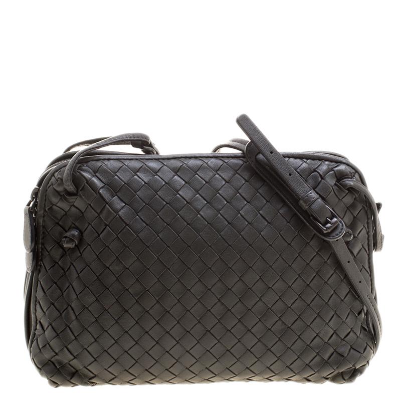 13d1acfafd ... Bottega Veneta Grey Intrecciato Leather Double Messenger Bag. nextprev.  prevnext