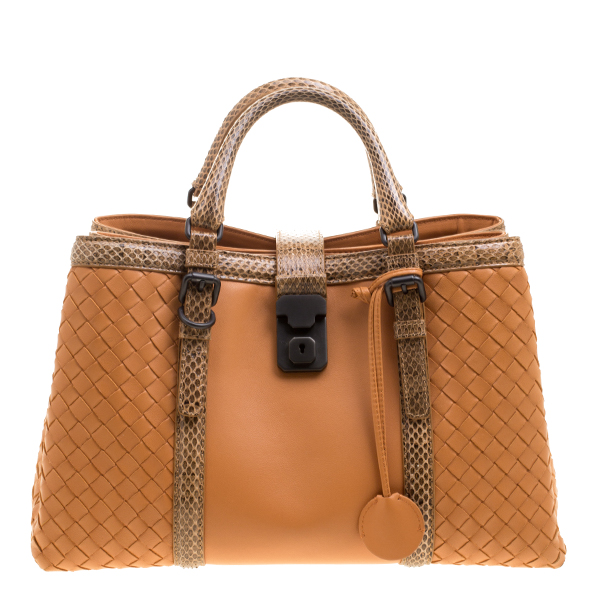 fa91190616 Buy Bottega Veneta Orange Intrecciato Leather Python Trimmed Small ...