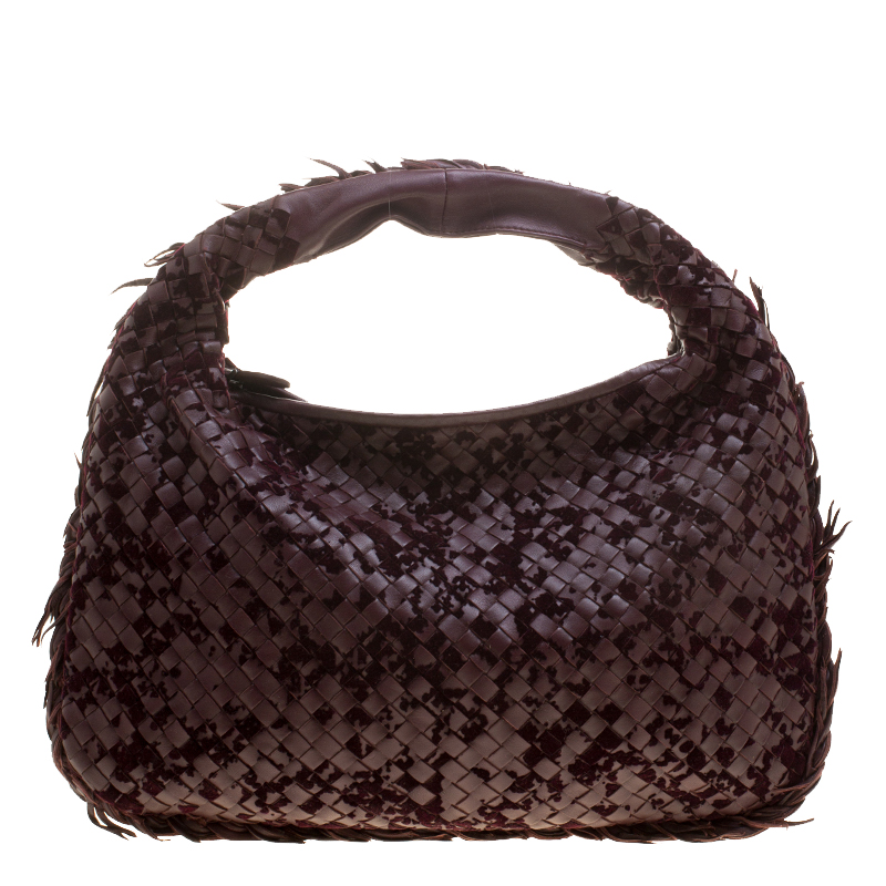 5aff8f49da7b Buy Bottega Veneta Burgundy Leather Intrecciato Velvet Speckled Hobo ...