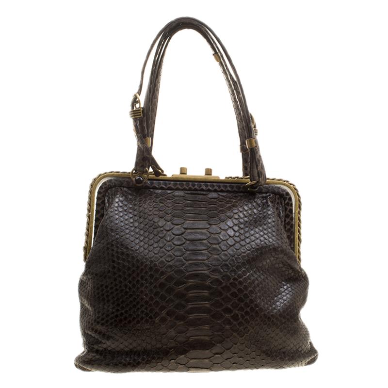 b6ac2e8be3 Buy Bottega Veneta Dark Brown Python Frame Bag 133994 at best price ...