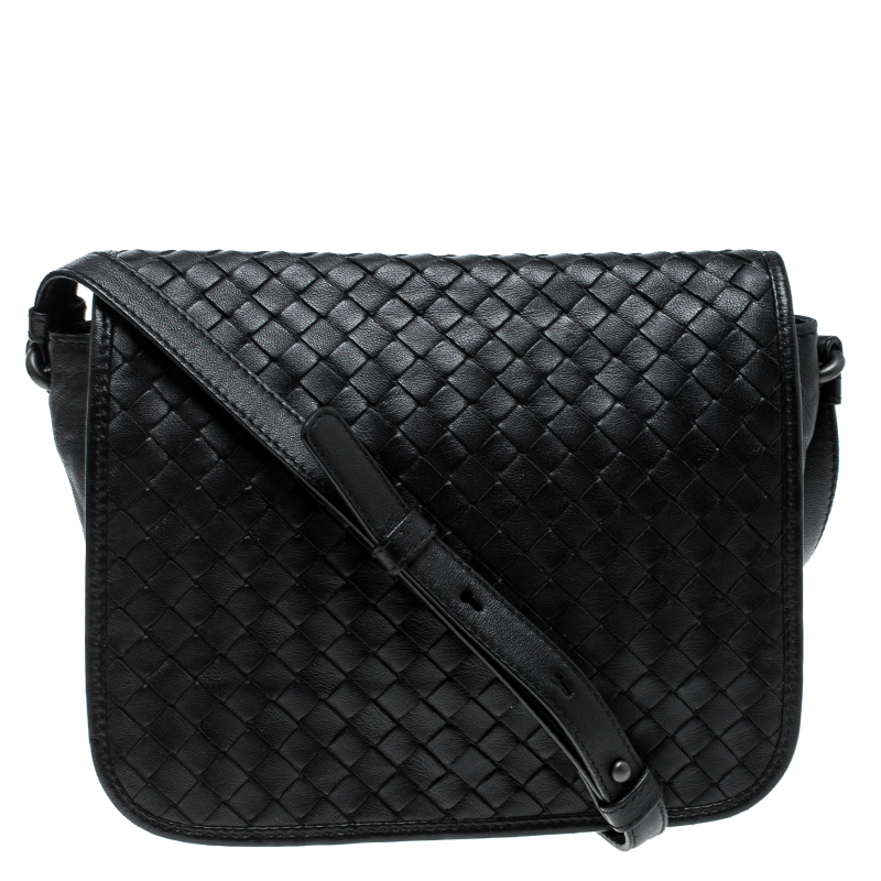 ... Bottega Veneta Black Intrecciato Leather Full Flap Crossbody Bag.  nextprev. prevnext e25281bf79604