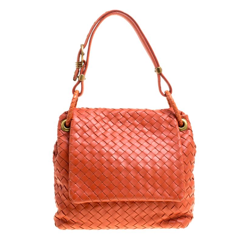 5fc895f014 ... Bottega Veneta Orange Intrecciato Leather Flap Shoulder Bag. nextprev.  prevnext