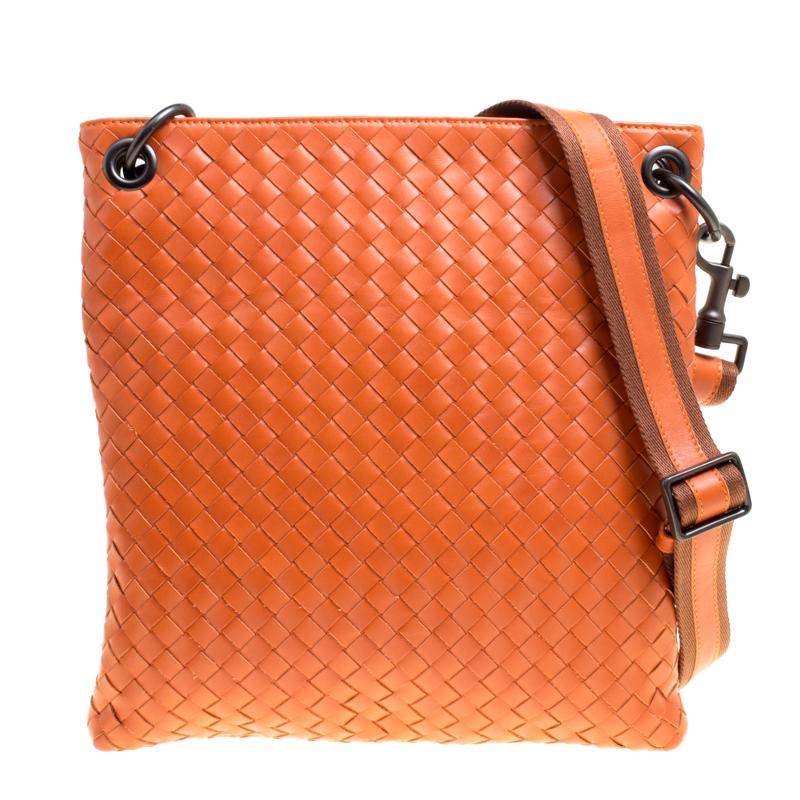 Bottega Veneta Orange Intrecciato Leather Crossbody Bag