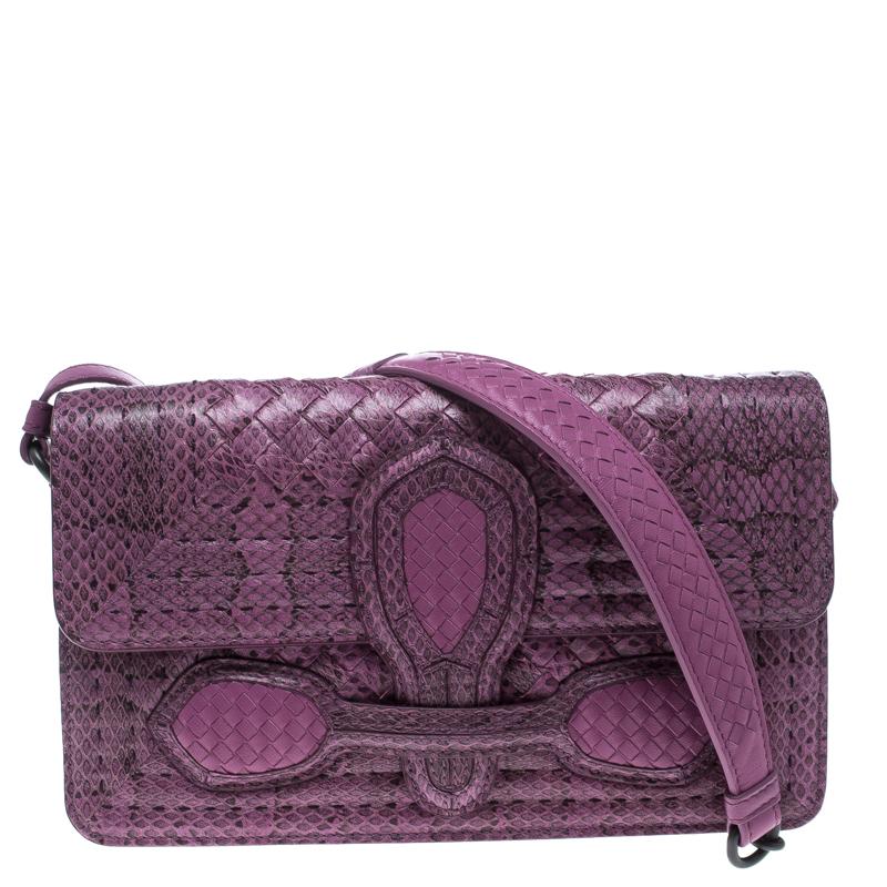 3bd355a28a96 ... Bottega Veneta Purple Intrecciato Snakeskin Rialto Shoulder Bag.  nextprev. prevnext