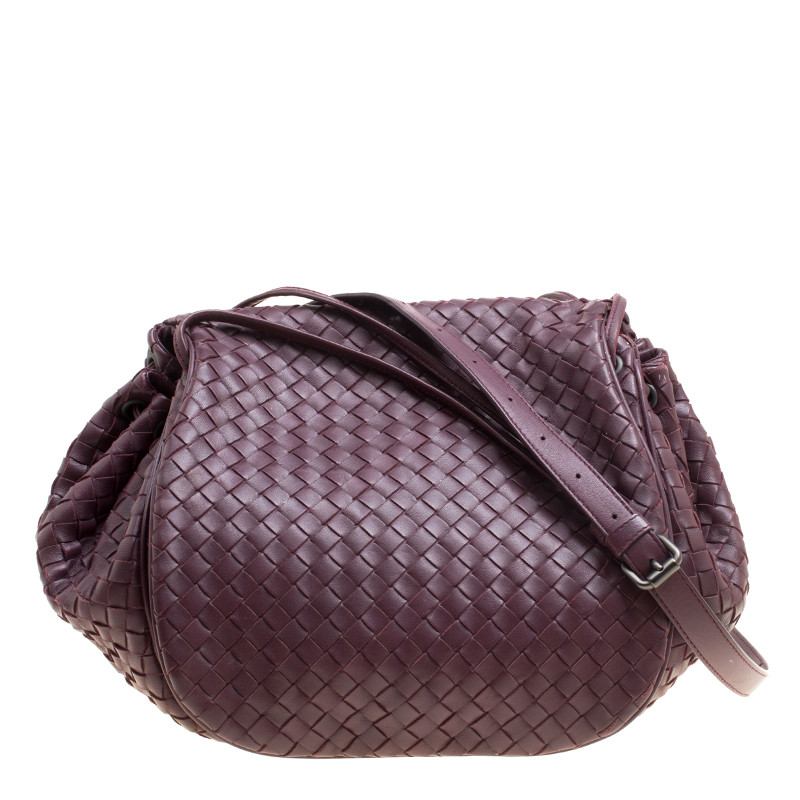 fc8687291e ... Bottega Veneta Burgundy Intrecciato Leather Drawstring Flap Crossbody  Bag. nextprev. prevnext