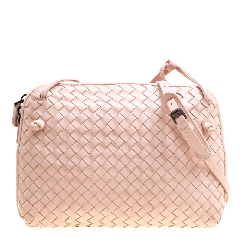 4369f35fa9 ... Bottega Veneta Pink Intrecciato Leather Nodini Crossbody Bag. nextprev.  prevnext
