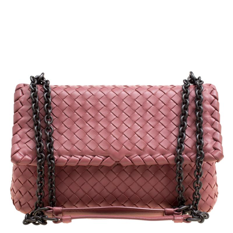 Bottega Veneta Pink Intrecciato Leather