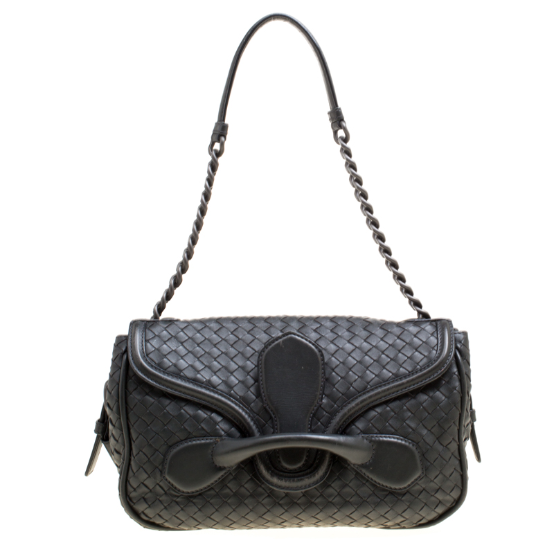da5edf06c86e ... Bottega Veneta Black Intrecciato Leather Medium Flap Shoulder Bag.  nextprev. prevnext