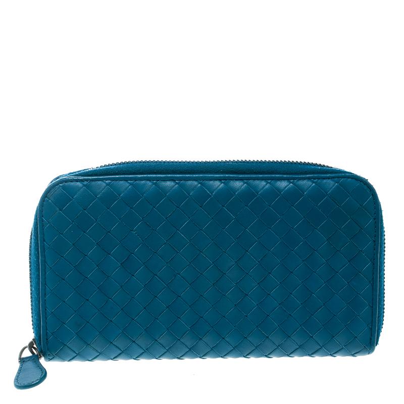 db393821c30b5 ... Bottega Veneta Blue Intrecciato Leather Zip Around Long Wallet.  nextprev. prevnext