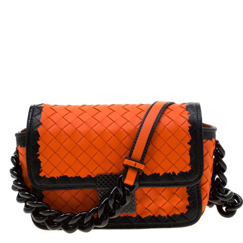 Bottega Veneta Orange Black Intrecciato