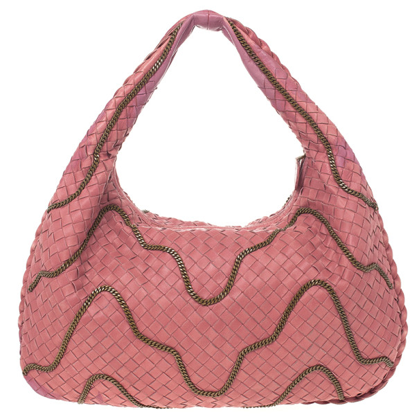 a78f2a52a71f ... Bottega Veneta Pink Intrecciato Nappa Leather Chain Medium Veneta Hobo  Bag. nextprev. prevnext