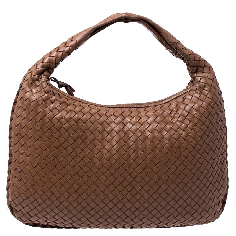 Bottega Veneta Tan Intrecciato Nappa Leather Medium Veneta Hobo
