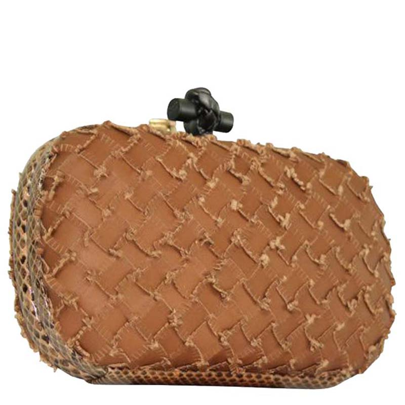 Bottega Veneta Brown Short Fringes Leather Knot Clutch  - buy with discount
