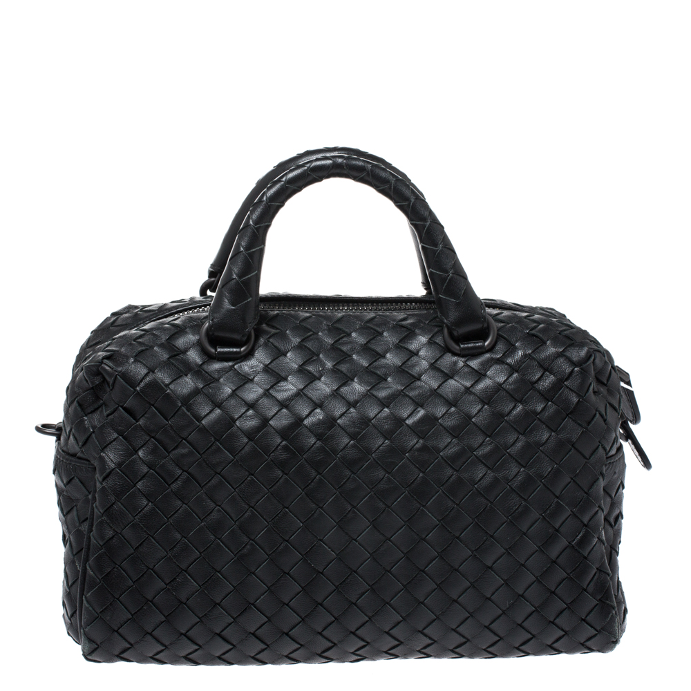 Bottega Veneta Black Intrecciato Leather Crossbody Bag