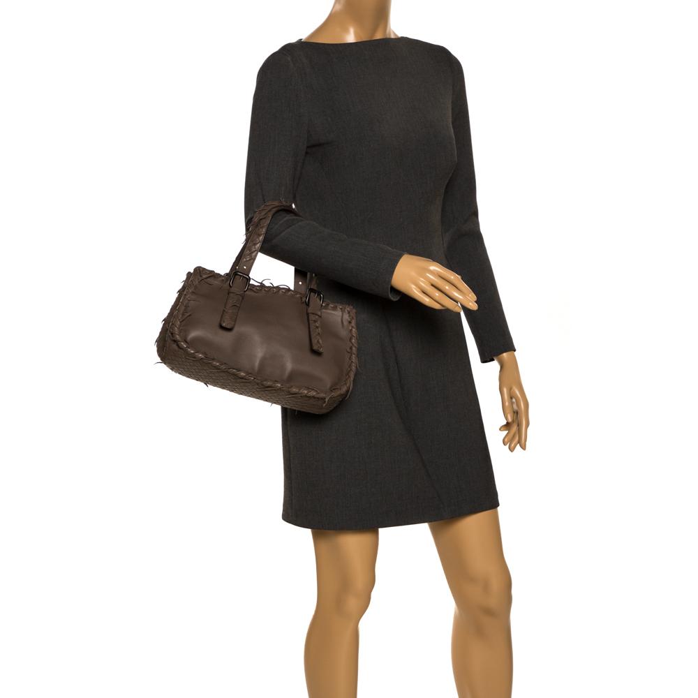 Bottega Veneta Taupe Intrecciato Leather Fringe Satchel, Grey  - buy with discount