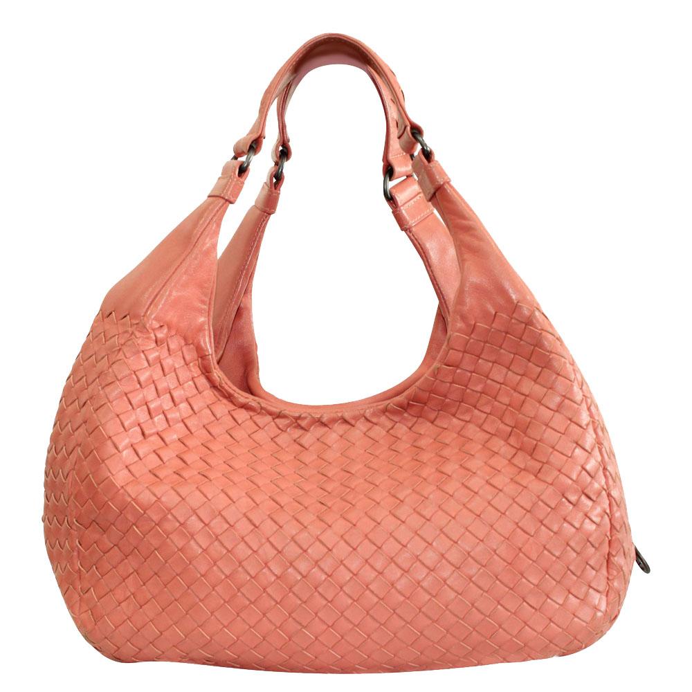 Bottega Veneta Orange/Coral Intrecciato Woven Nappa Leather Large Campana Bag