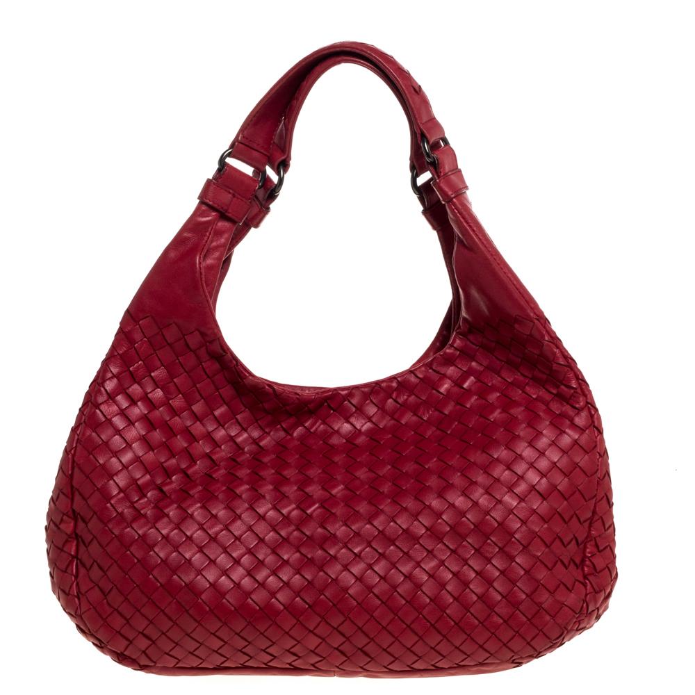 Pre-owned Bottega Veneta Red Intrecciato Nappa Leather Campana Hobo