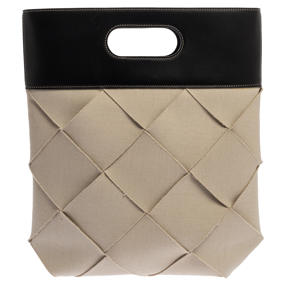 Pre-owned Bottega Veneta Cream/black Canvas And Leather Slip Tote