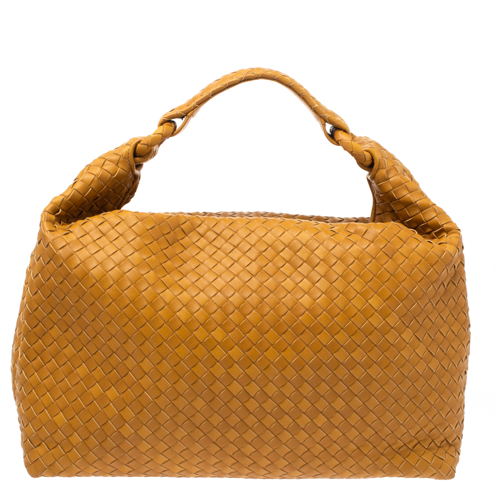 Pre-owned Bottega Veneta Mustard Intrecciato Leather Sloane Hobo In Yellow