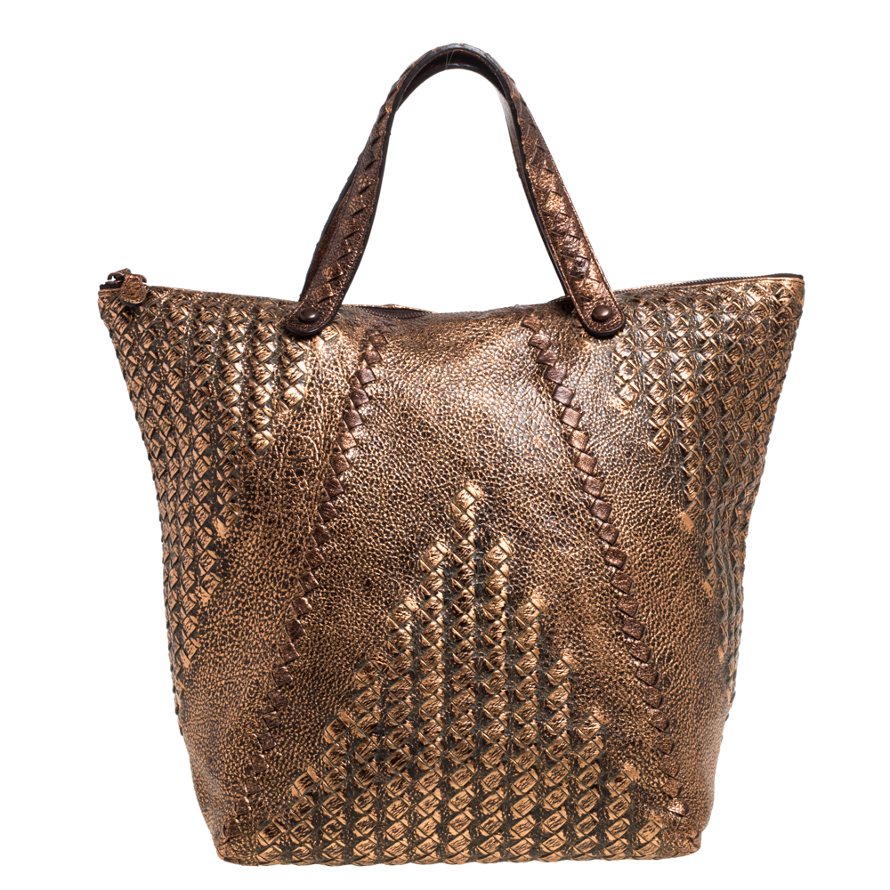 Pre-owned Bottega Veneta Copper Leather Cervo Tote In Brown