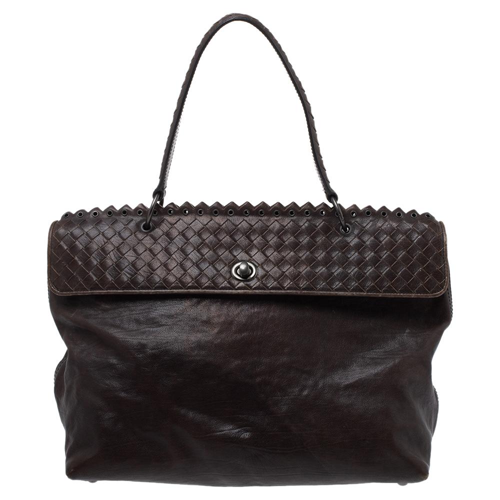 Pre-owned Bottega Veneta Dark Grey Intrecciato Leather Tina Top Handle Bag