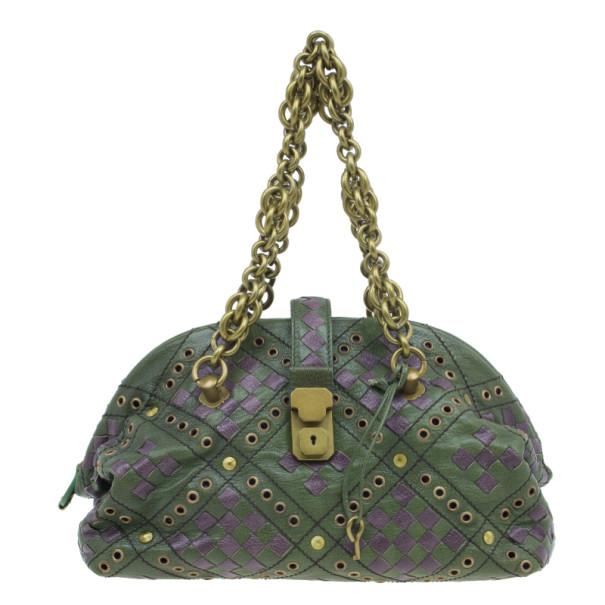 Buy Bottega Veneta Green and Purple Intrecciato Leather Bowling Bag 3414 at best  price  e83e7118f9640