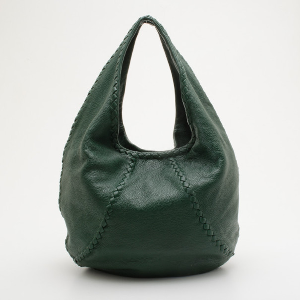 ea3b4ac2fc ... Bottega Veneta Green Leather Large Cervo Hobo. nextprev. prevnext