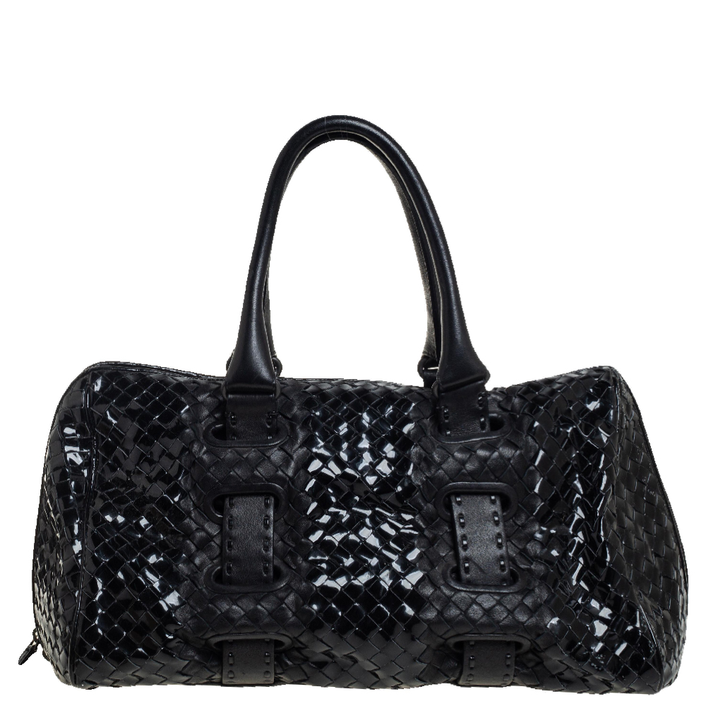 Pre-owned Bottega Veneta Black Patent Intrecciato Leather Boston Bag