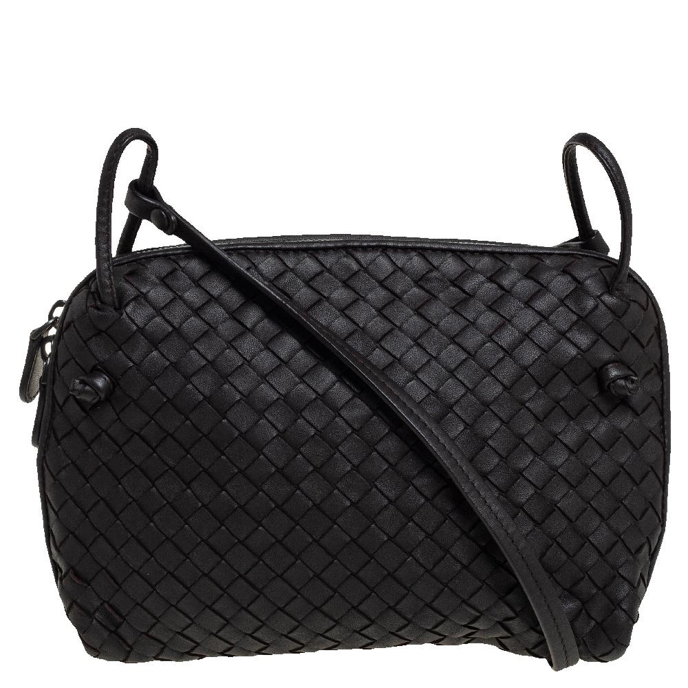Pre-owned Bottega Veneta Dark Brown Intrecciato Leather Nodini Crossbody Bag In Green