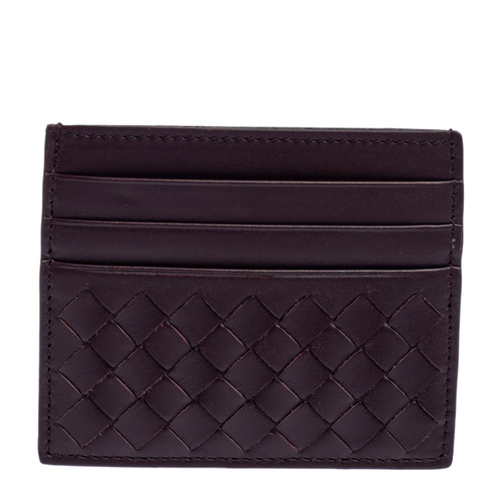 Pre-owned Bottega Veneta Burgundy Intrecciato Leather Card Holder