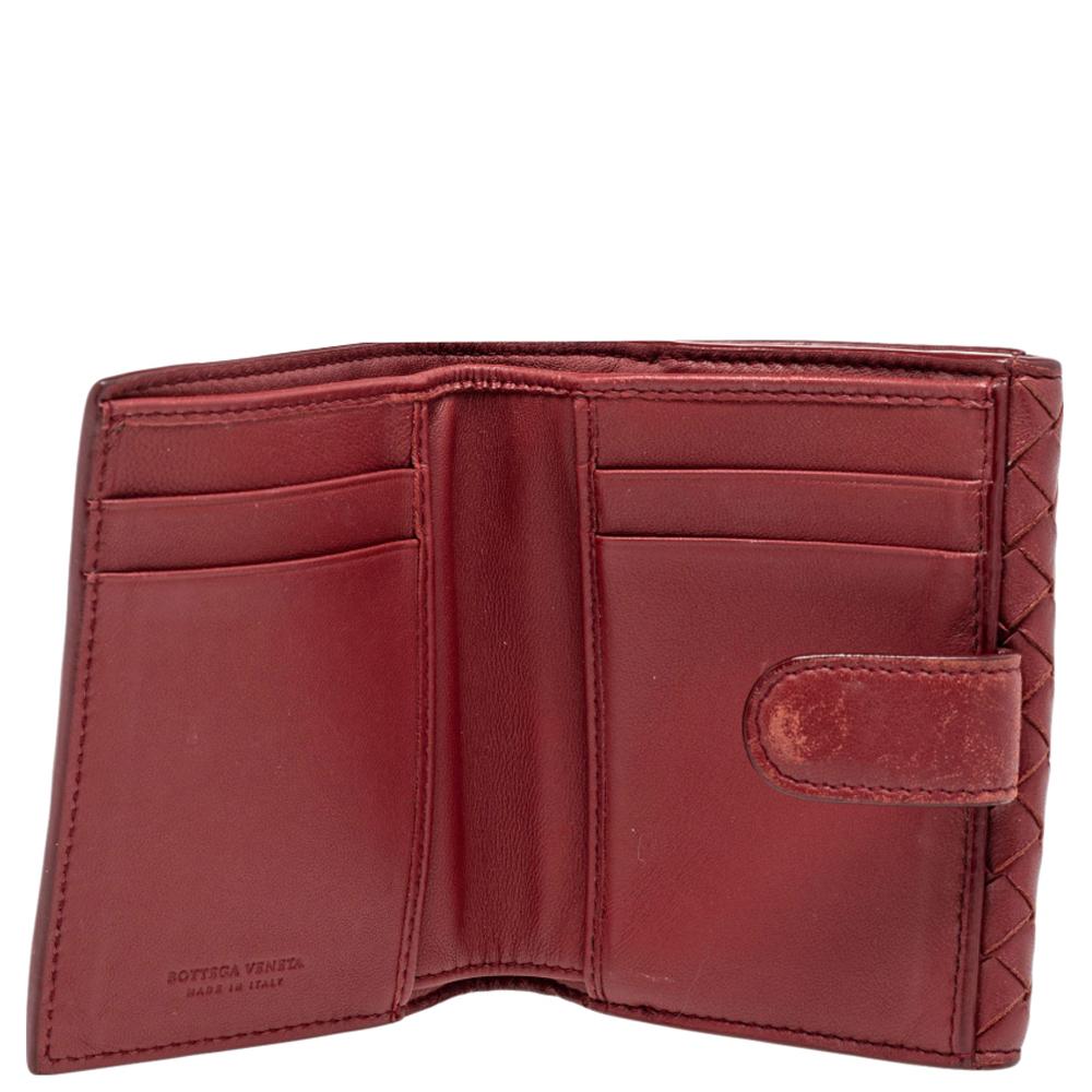 Bottega Veneta Red Intrecciato French Wallet