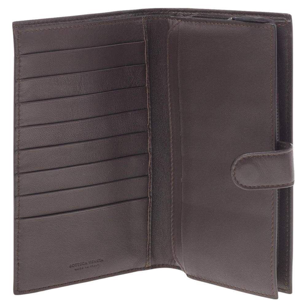 Bottega Veneta Brown Intrecciato Leather Bifold French Wallet