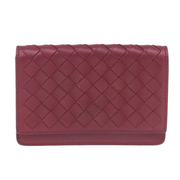 Bottega Veneta Red Leather Intrecciato Card Holder