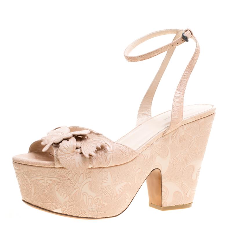 Bottega Veneta Beige Butterfly Embossed Leather Ankle Wrap Platform Wedge Sandals Size 40